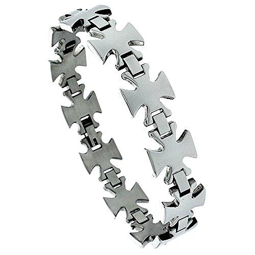Stainless Steel Maltese Cross Bracelet For Men 5/8 inch wide, 8 1/2 - Womens Maltese
