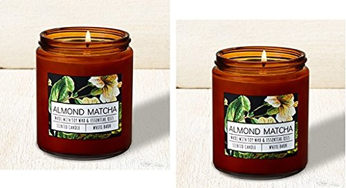 Bath and Body Works 2 Pack Almond Matcha Single Wick Candle. 7 Oz. by Bath & Body Works