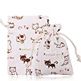 FASOTY 50 Pack Cat Design Double Drawstring Linen Bags Burlap Bags with Drawstring Gift Bags Jewelry Pouch for Wedding Party and DIY Craft 3.7 X 5.2 Inch