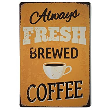 ERLOOD Retro Vintage 12 by 8 -Inches Fresh Brewed Coffee Tin Sign