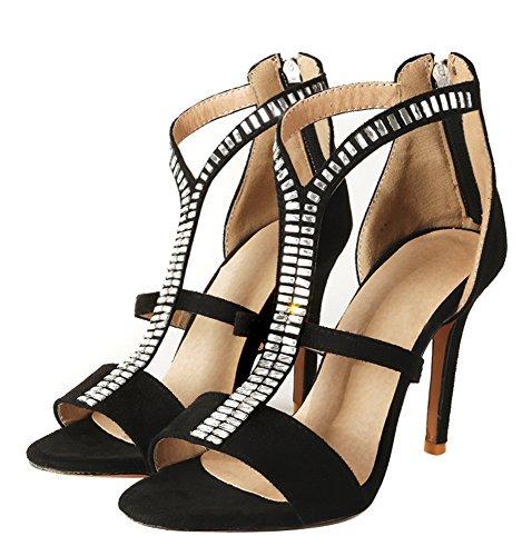 Stiletto Aisun Frauen Heels Reißverschluss Strasssteine hoch Sandalen Stilvolle Schwarz xwFqXwP