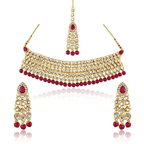 MEENAZ Green and White Gold Plated Kundan Pearl and Ruby
