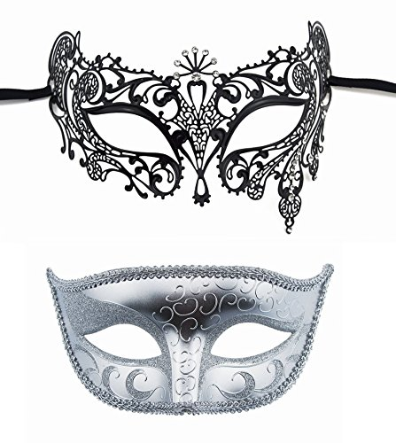 Halloween Costumes Masquerade Theatrical (TANKEY Halloween Mask Set Couple's Masquerade Mask Sparkling Venetian Mask Party Mask (Silver-1))