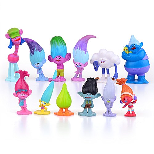 12pcs Troll Toys Mini Trolls Figures Collectable Doll 3-7cm Action Figures Cake Toppers