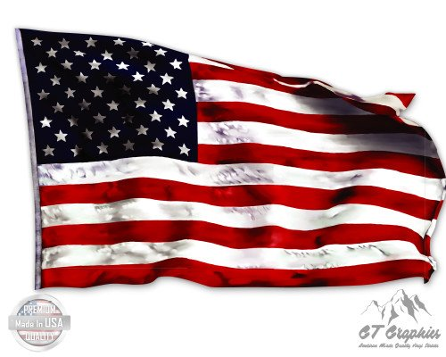 (American Flag Waving in the Wind - 16