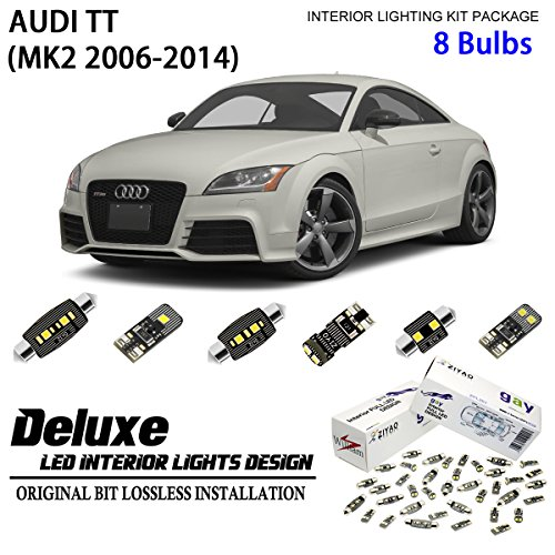 ZIYO ZPL1118 -(8 Bulbs) Deluxe LED Interior Light Kit 6000K Xenon White Dome Light Bulbs Replacement for MK2 2006-2014 Audi TT