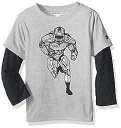 Under Armour Little Boys\' Slider Long Sleeve Shirt, True Grey Heather, 4