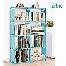 4 Tier 8 DIY Children's Bookcase Cabinet Bookcase Office Home Furniture Organizer Bookshelf Folding Storage Shelves Unit (Blue)