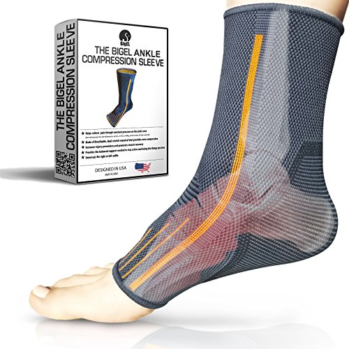 Ankle Brace Compression Sleeve | Arch Support | Foot Sock for Injury Recovery, Joint Pain, Swelling, Achilles Tendon | Pain Relief from Heel Spurs, Plantar Fasciitis | Breathable | Women & Men - M by BigEL