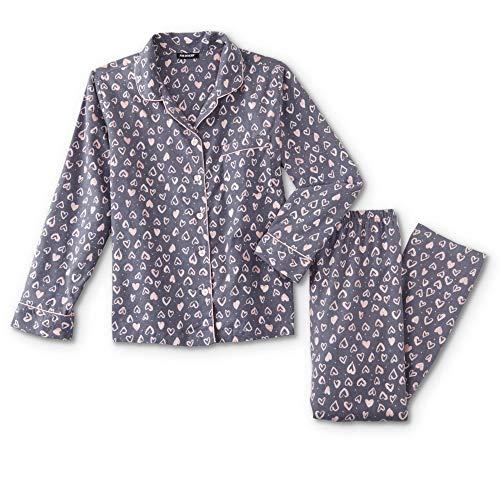 Joe Boxer Women's Plus Size 2-Piece Flannel Pajamas Shirt & Pant Set (Gray Hearts, 1X)