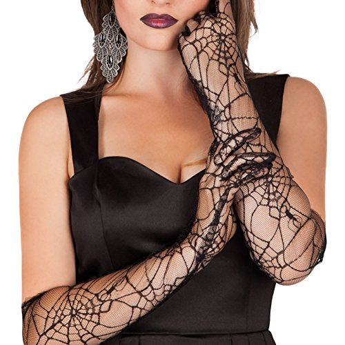 Costumes Widow Halloween (Long Elbow Spiderweb Gloves Black Lace Halloween Fancy Dress Witch Black Widow Costume Gloves by BOLAND)
