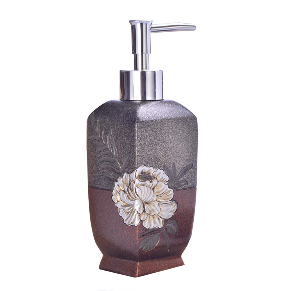 DGSFES Baroque Flowers Soap Dispenser with Stainless Steel Pump 390ml Refillable Wash Hand Soap, Ideal for Liquid Soaps, Essential Oils and Lotions-Grey