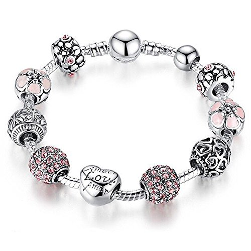 YOUFENG Love Beads Charms Bracelet for Girls and Women Murano Glass Beads Rose Flower Charms Amethyst Bracelets (Amor Pink CZ Bracelet) ()
