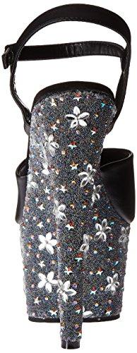 Pleaser Women's Stblm709/bpu/b-sm Platform Sandal Black Faux Leather/Black/Silver Multi tA0FRe