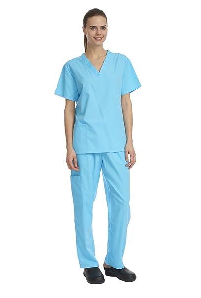 4353d69ac87 Amazon.com: Denice Solid Set/Missy Fit/Multiple Pockets/Women/Medical Scrub  282 (Large, Turqouise): Clothing