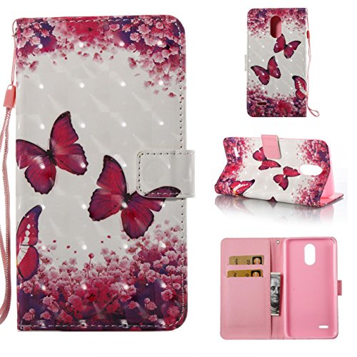 Lg Stylo 3 Case,Durable Kickstand Wallet Case with Inner Silicone Bumper Cover Full Protective Flip Folio Shell Cover with Credit Card Holder for Lg Stylo 3/Lg Stylus 3/Ls777-Butterfly