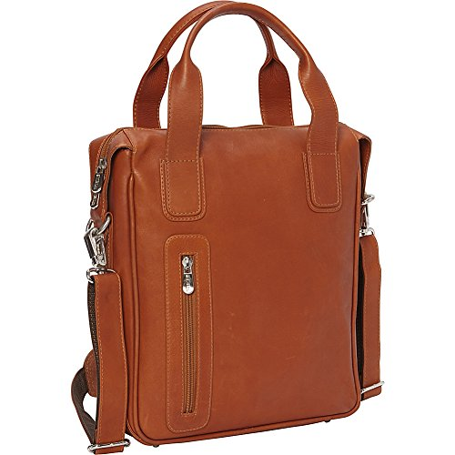 Piel Vertical Laptop Briefcase (Saddle) by Piel Leather