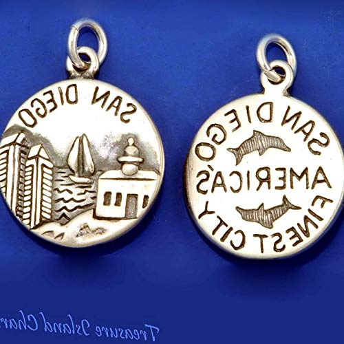 Lot of 1 Pc. San Diego California America's Finest City 925 Solid Sterling Silver Round Charm Vintage Crafting Pendant Jewelry Making Supplies - DIY for Necklace Bracelet Accessories by CharmingSS