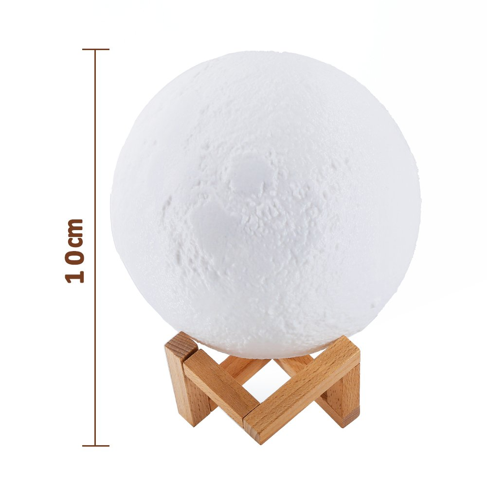 Ocamo Desk Lamp Simulation 3D Moon Night Light Earth Light, 3 LEDs USB Rechargeable Moonlight with Wood Base 10cm by Ocamo (Image #2)