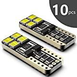 #2: SEALIGHT 194 LED Light Bulb 6000K White Super Bright 168 2825 W5W T10 Wedge LED Replacement Bulbs Error Free for Car Dome Map Door Courtesy License Plate Lights (Pack of 10)