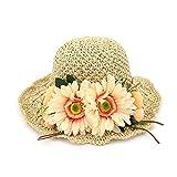 Handmade flowers straw hat seaside tourism Daxie beach hat sun visor sun hat foldable basin hat fisherman hat,Beige,adjustable