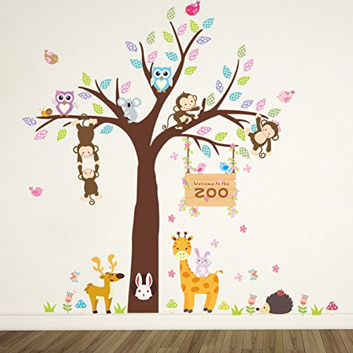 ElecMotive Forest Animal Giraffe Monkey Owls Hedgehog Rabbit Tree Nursery Wall Stickers Wall Murals DIY Posters Vinyl Removable Art Wall Decals for Kids Girls Room Decoration (Zoo) Baby Zoo Wall