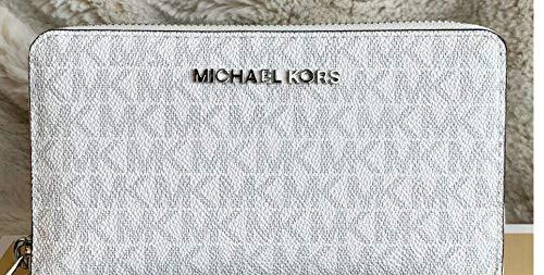 (Michael Kors Jet Set Travel Large Flat Multifunction Phone Case Wristlet (White PVC/Grey))