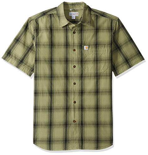Carhartt Men's Essential Plaid Open Collar Short Sleeve Shirt, 372-Oil Green, X-Large