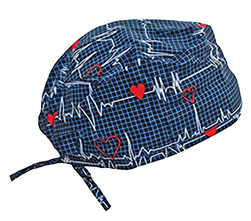Scrub Cap Medical Doo Rag Hat For a Doctor Nurse Veterinarian Dentist Athlete (Navy Blue EKG Heart Beat)