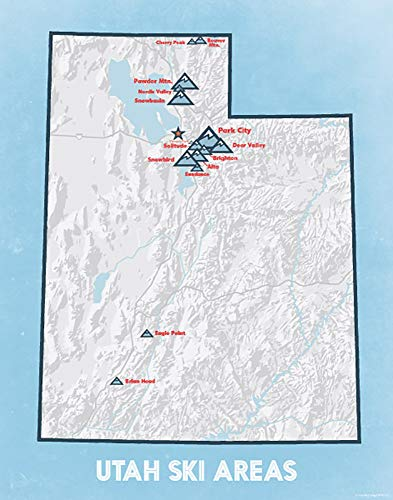 Utah Ski Resorts Map 11x14 Print (White & Light Blue)