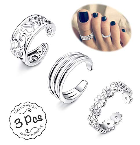 Silver Tone Toe Ring Silver (LOLIAS 3Pcs Toe Rings Women Girls Adjustable Open Toe Ring Gifts Jewelry Set)