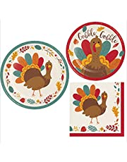 Thanksgiving Turkey Party Supplies   Bundle Includes Paper Plates & Napkins for 8 People   Fun Tom Turkey Design