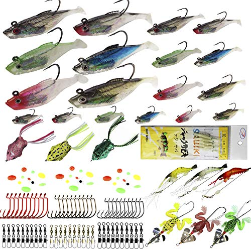 (Fishing Lures Kit Soft Baits Tackle Luminous Shrimp Swimbait luresTopwater Frog Sabiki Bait Rigs Saltwater Freshwater Lures for Bass,Trout,Salmon Fishing)