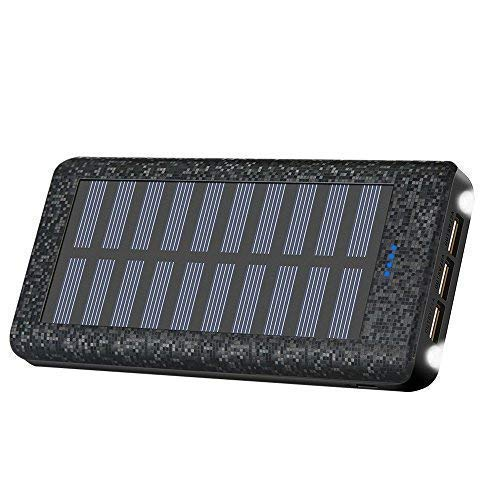 Portable Charger Solar Charger Power Bank 24000mah High Capacity 3 USB Output Ports Backup Battery Compatible with Cell Phone Tablet Android Phone and More