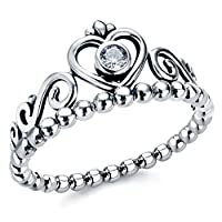 Allencoco 925 Sterling Silver Crown Shape Cubic Zirconia Bead Stackable My Princess Tiara Rings