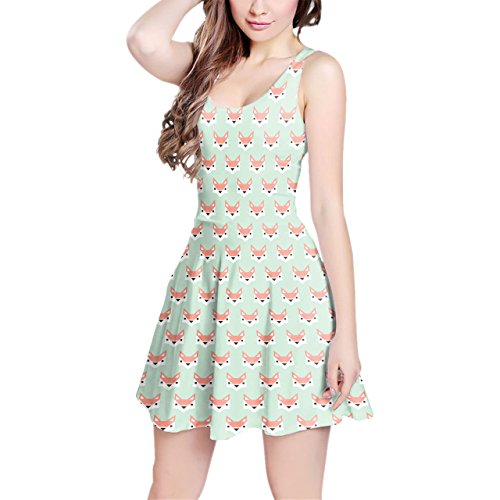 Geometric Fox in Pastel Sleeveless Dress XS-3XL Kleid