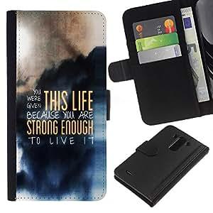 LG G3 D855 D850 D851 , la tarjeta de Crédito Slots PU Funda de cuero Monedero caso cubierta de piel (This Life - Deep Message)