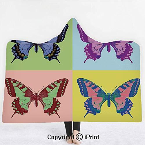 "- Butterflies Decorations 3D Print Soft Hooded Blanket Boys Girls Premium Throw Blanket,Pop Art Swallowtail Pavilions Wild Life Transcendent Energies of Miraculous Wings,Lightweight Microfiber(Kids 50""x"