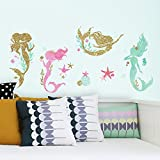 RoomMates RMK3562SCS Mermaid Peel & Stick Wall Decals with Glitter