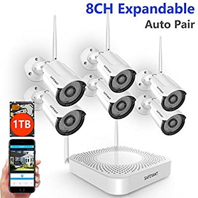 [2018 Newest] Wireless Camera System,Safevant 8CH 1080P NVR Home Security Camera System(CCTV Kits) with 8PCS 960P Inddor/Outdoor Bullet IP Cameras,No HDD,Auto Pair