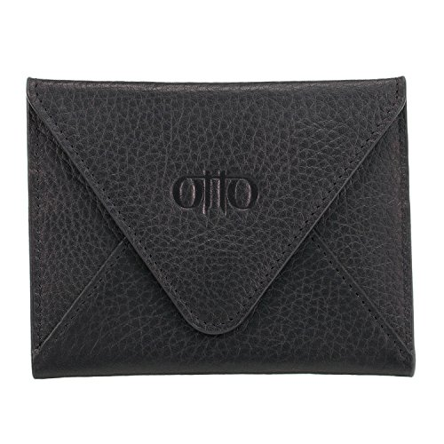 Leather Envelope Wallet - Otto Genuine Leather Wallet - Multiple Slots Money, ID, Cards, Smartphone, RFID Blocking - Unisex, One Size, Black