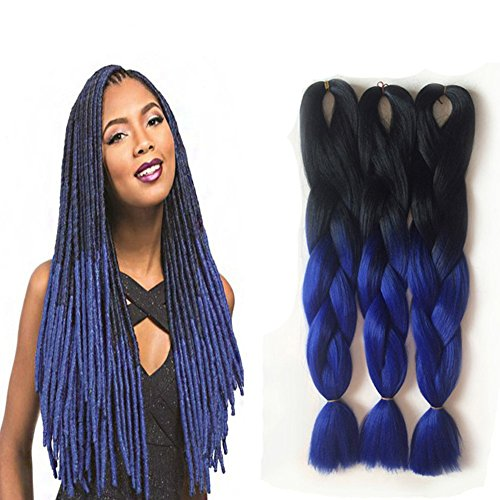 Louis Jumbo Braid Hair Extensions 5 bundles 24 inch Afro Twist Synthetic Hair Two Tone Ombre Jumbo Braiding Hair For Women 100g/pc Black-Blue
