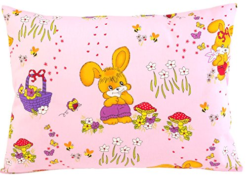 (Toddler Pillowcase 13x18 by Comfy Turtles, 100% Cotton, or Get Your Kid's Smile with Cute Animals of This Soft Hypoallergenic Pillow Cover (Pink Bunnies))