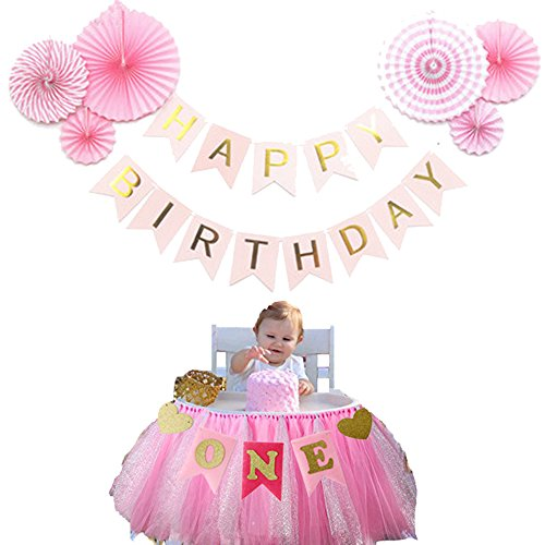 Baby Girls First Birthday Party Decorations Pack - 6 Pcs Pink Decorative Tissue Paper Fans - One