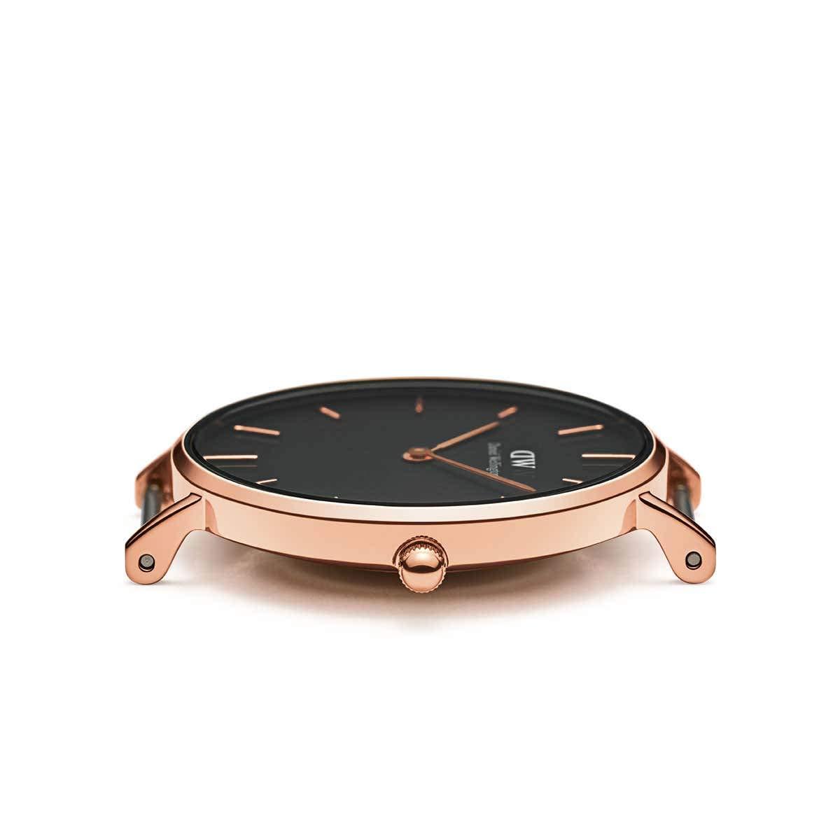 Daniel Wellington Classic Bayswater, nattblå/roséguld klocka, 36 mm, NATO, för kvinnor och män Roséguld/svart