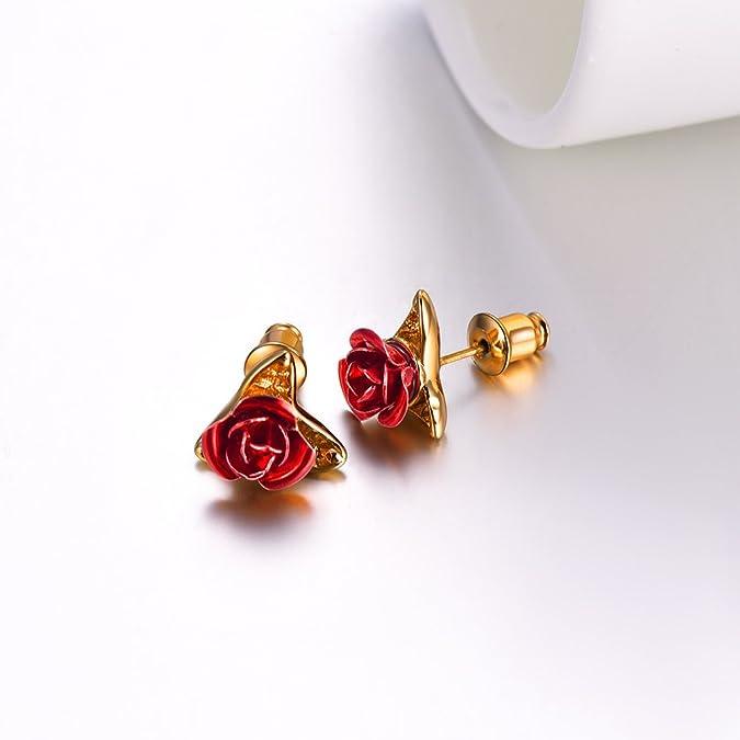 Red Triple Flower Earrings and Yellow Beaded Earrings One-of-a-kind Summer Jewelry Orange Flower Earrings Casual Jewelry Gift Boxed