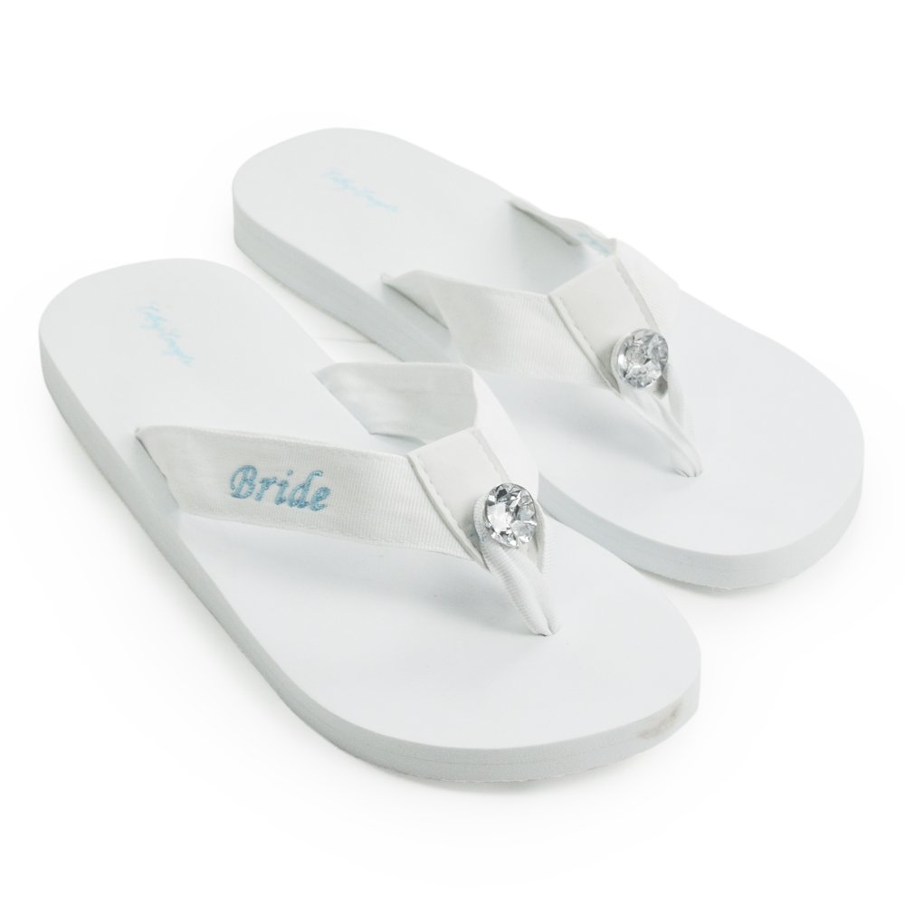 14e335ece0ee Amazon.com  Cathy s Concepts Bride Flip Flops