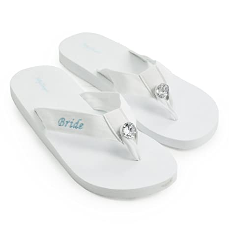 3b4ccb55fda36 Amazon.com: Cathy's Concepts Bride Flip Flops, White, Large 9/10 ...