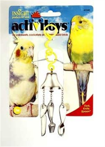 JW Pet Company Activitoy Fork, Knife and Spoon Small Bird Toy, Colors (Bird Fork)
