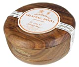 D R Harris Wooden Shaving Bowl + Soap 100g-Sandalwood-Mahogany effect